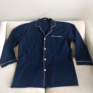 IZOD Sleepwear Pajama Top Navy 2XL Tall Button Up